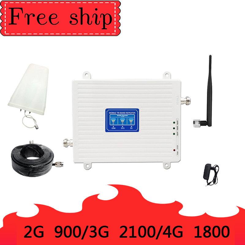 2G 3G 4G 70dB Mobile Cellular Signal Repeater GSM 900 LTE DCS 1800 WCDMA 2100mhz Triple Band Cell Phone Signal Booster Whip