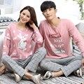 Os amantes de outono & Inverno pyjamas100 % algodão de manga longa casal Pijamas sets ternos dos desenhos animados homewear para homens & mulheres clothesTracksuit