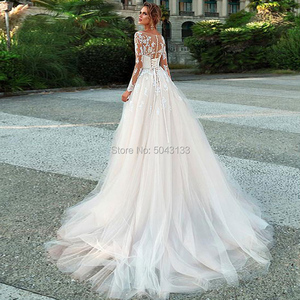 Image 2 - Sexy Illusion Scoop Neckline lace Appliques Long Sleeves Wedding Dresses 2020 A Line Formal Bridal Dress with Belt Corset Back