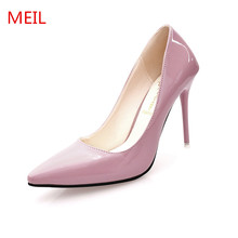 Shoes Woman Designer High Heels Pointed Toe Ladies Shoes Patent Leather Pumps 10cm Stiletto Heels Formal Dress Wedding Shoes goxeou 2018 shoes women 10cm pointed toe stiletto heels pumps ladies stylish high heels shoes faux suede sapato size32 46