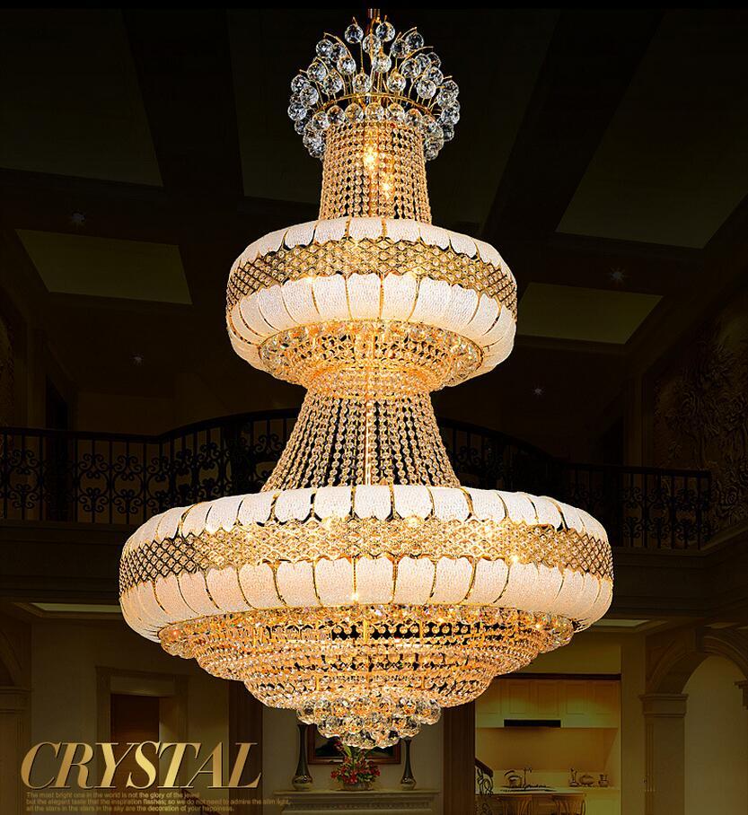 LED Moderne Lustre de luxe K9 Or Lustre en cristal éclairage Haut de Gamme Éclat Royal grand lustres en cristal