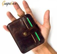 Guapabien Solid Color PU leather wallet ID card Holder men purses male clutch Retro Vintage Mini wallets hasp small purse women