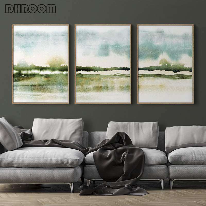 Nordic Abstract Impressionist Canvas Painting Misty Savannah Watercolor Prints Wall Art Pictures Poster Home Decor