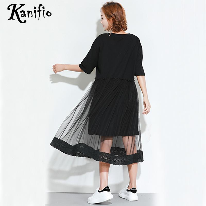 O Robes Noir cou 4xl Femmes Taille Vestidios La Femme 3xl Dames Femininos Robe Lâche Chemise Plus Casual Maille Longue Kanifio Tuniques Pwpqzz