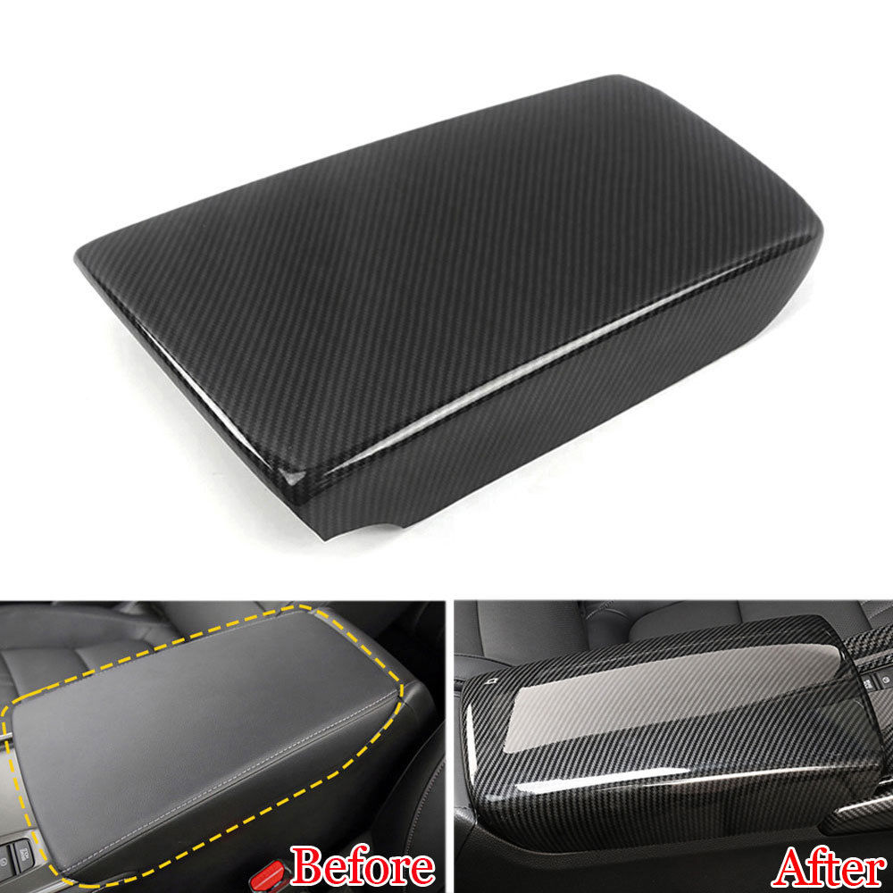 1x ABS Plastic For <font><b>Honda</b></font> 10th <font><b>Accord</b></font> <font><b>2018</b></font> Carbon Fiber Style Console Armrest Storage Box Trim Sticker Decorative <font><b>Accessories</b></font> image