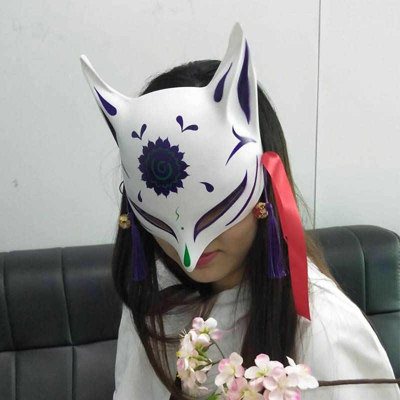 ญี่ปุ่นที่กำหนดเองลมฟ็อกซ์หน้ากากทาสีฟ็อกซ์หน้ากากคอสเพลย์แฟนซีสัตว์พลาสติกสีขาวพีวีซีฟ็อกซ์คอสเพลย์