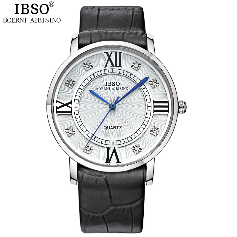 IBSO Brand Luxury Ultra Thin Lovers Watch Fashion Women Watches Business Luxury Genuine Leather Strap Watch Men Relojes Hombre