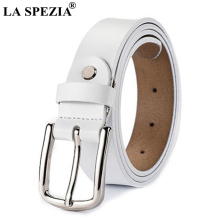 LA SPEZIA Women Vintage Belts White Pin Buckle Leather Female Retro Cowhide Genuine Ladies Brand Waist Belt Jeans