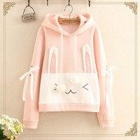 Harajuku Kawaii Hoodies Women Clothing Sweatshirts Spring Pink White Cute Rabbit Anime Mori Girl Lolita Hooded Hoodies U247