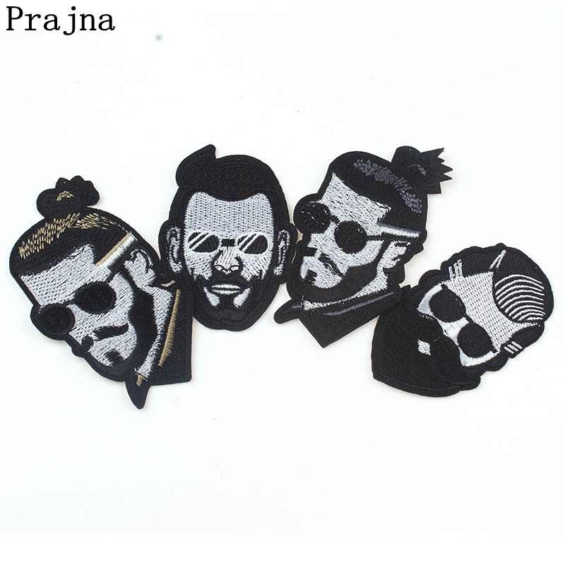 Prajna Black And White Series Fabric Patch Punk Style Beard Men Embroidered Patches Sewing Stools Accessories For Clothes Decor