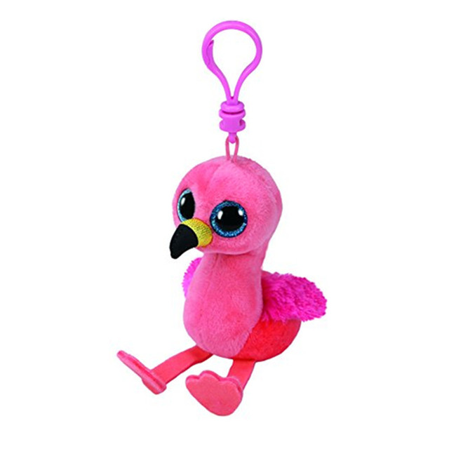 69395cb2239 Ty Beanie Boos Pink Flamingo Clip keychain Plush 10CM Big Eyes Beanie Baby  Plush Stuffed Doll Toy Collectible Soft Plush Toys