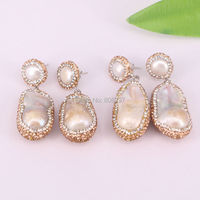 3pair New Arrival Natural Freshwater Pearl Earrings Crystal Rhinestone Pave Mother Of Pearl Dangle Earrings