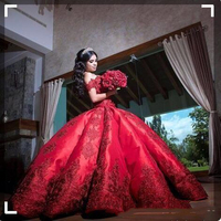 Cheap Ball Gown Red Quinceanera Dresses For Girls Satin Off Shoulder Appliques Long Sweet 16 Prom Dresses Formal Gowns