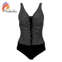Andzhelika One Piece Swimsuit 2017 Newest Plus Size Swimwear Dot Bodysuit Sexy Backless Bathing Suits Swim
