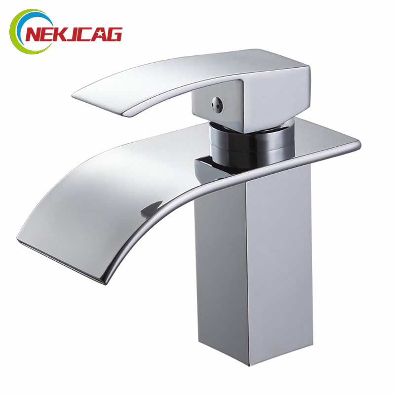 Free Shipping Best Quality Polished Chrome Brass Waterfall Bathroom Basin Faucet Single Handle Hole Vanity Sink Mixer Tap