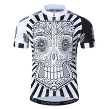 Weimostar White Skull Bike Jersey Top 100% Polyester Cycling Jersey Shirt Men Summer Short Sleeve Bicycle Clothing Cycle Wear