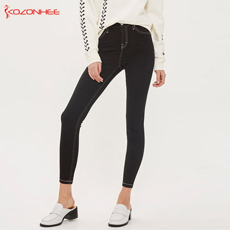 Stretch Gray-black Women`s   Jeans   With High Waist Tights Elasticity   Jeans   For Girls With Zipper Pencils Up Hip Nine Pants