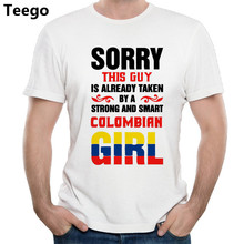 men tshirts 2018 this guy is already taken a Colombia girl mens t shirt funny cotton top new fashion men shirt slort sleeve gift(China)