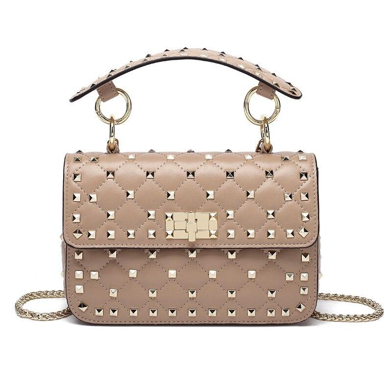 100% en peau de mouton en cuir de mode sacs à bandoulière de haute qualité Rivet sac à bandoulière de luxe sacs à main femmes sacs Designer approvisionnement d'usine