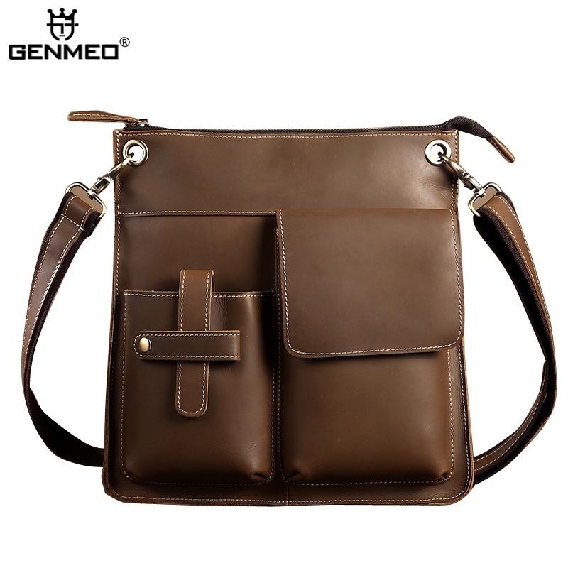 New Arrival Vintage Genuine Leather Shoulder Bag Men Cow Leather Handbags Retro Messenger Bag by Crazy Horse Cowhide Tote Bags