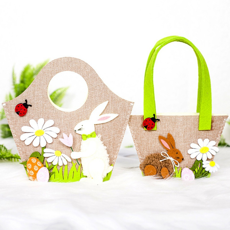 Flower Easter Bunny Party Supplies Rabbit Cute Egg Basket Kids Candy Home Decor Gift Storage Handbag Decoration Toy Functional Bags