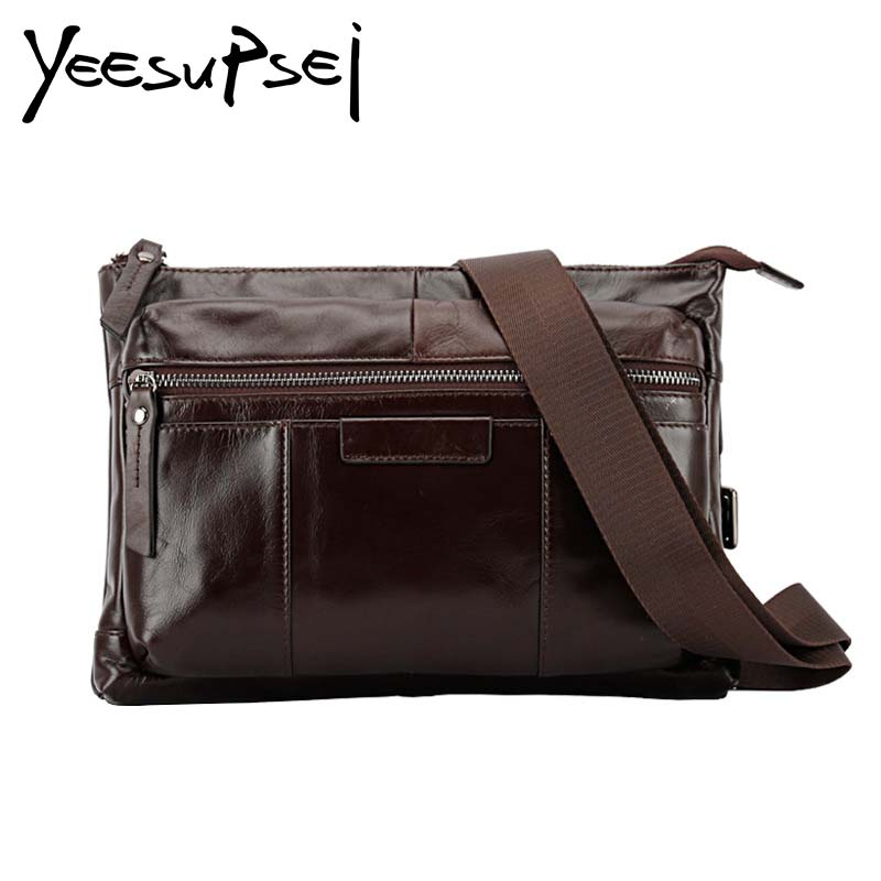 YeeSupSei High Quality Genuine Leather Men Business Briefcase Bag Small Vintage Men Satchel Crossbody Messenger Bags For Man Bag