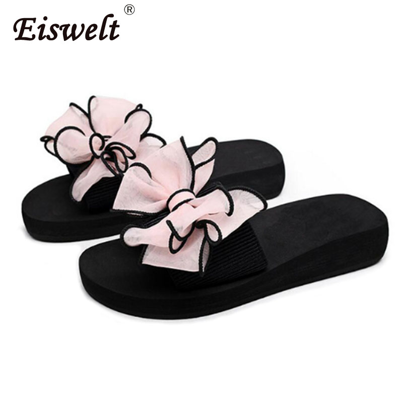 EISWELT Summer Women Bow Shoes Female Flip Flops Women Ladies Flat Slippers Casual Floral Women Slides Female Slippers