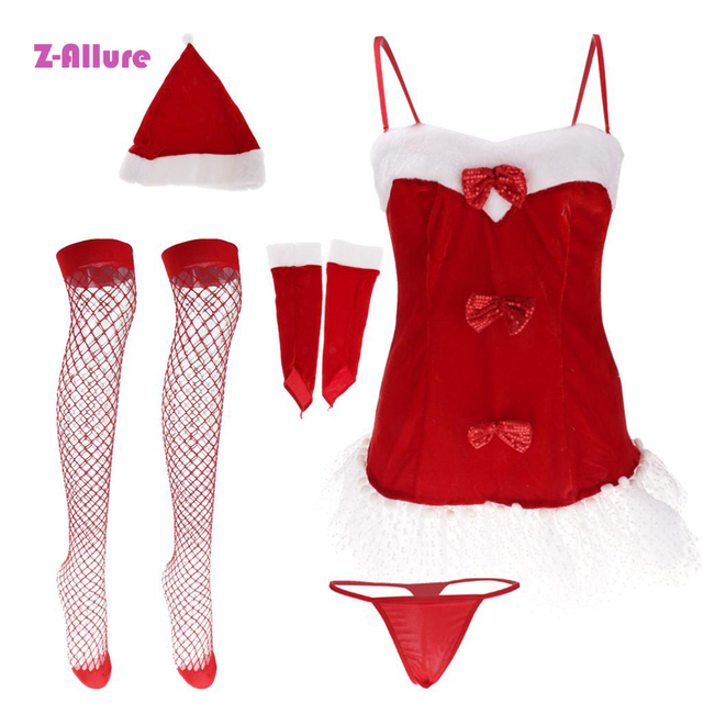 5PCS/Set Christmas Babydoll Erotic Underwear Women Santa Claus Sexy Lingerie Sleepwear Sex Toys For Couple Halloween Costume