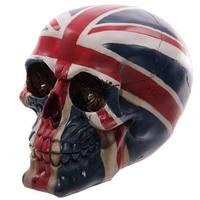 Patriot Ornamental Skull Gothic Fantasy UK British Royal Flag Union Jack Skull Head Skeleton Statue Figure Halloween Decorations