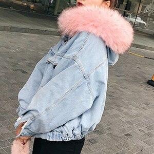 Image 4 - ผ้าฝ้าย DENIM แจ็คเก็ตผู้หญิง FUR Trim Hood PLUS ขนาดลง Parkas เสื้อโค้ทหญิงเดี่ยว Breasted DENIM Outover Coat ฤดูหนาว