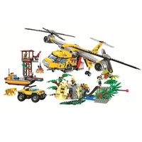 Bela 1298PCS City Urban Jungle Air Drop Helicopter model Building Blocks Bricks Compatible with Legoingly Toys Children Gifts