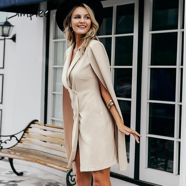 Simplee Vintage cloak blazer women dress Office ladies v neck shawl sleeveless dress female Solid celebrity party dress vestidos 1