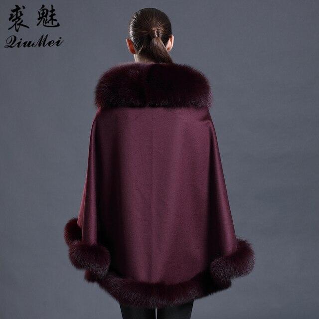 Cashmere Shawl Real Fox Fur Wraps Scarves Women Winter Scarf Female Poncho Warm Fashion 2018 Luxury Brand Ladies Wool Pashmina 1