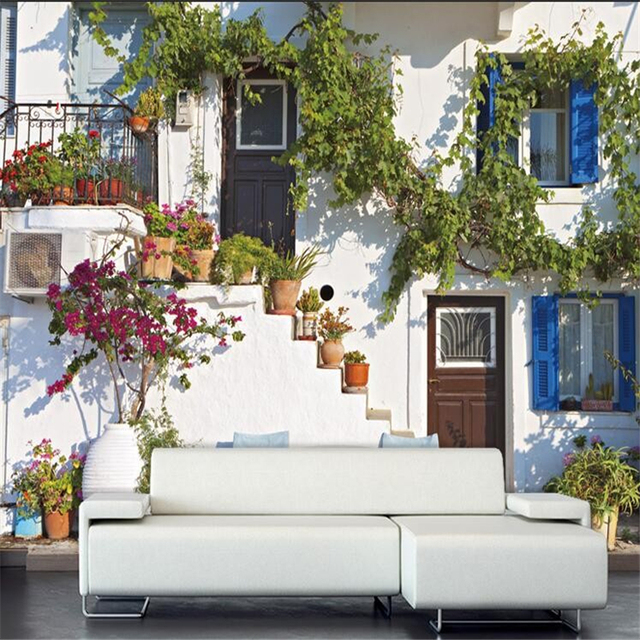 Beibehang Moderne 3D Fototapete Griechischen Mediterranen Stil Wohnzimmer Schlafzimmer Blau Architektur Landschaft 3d Wallpaper