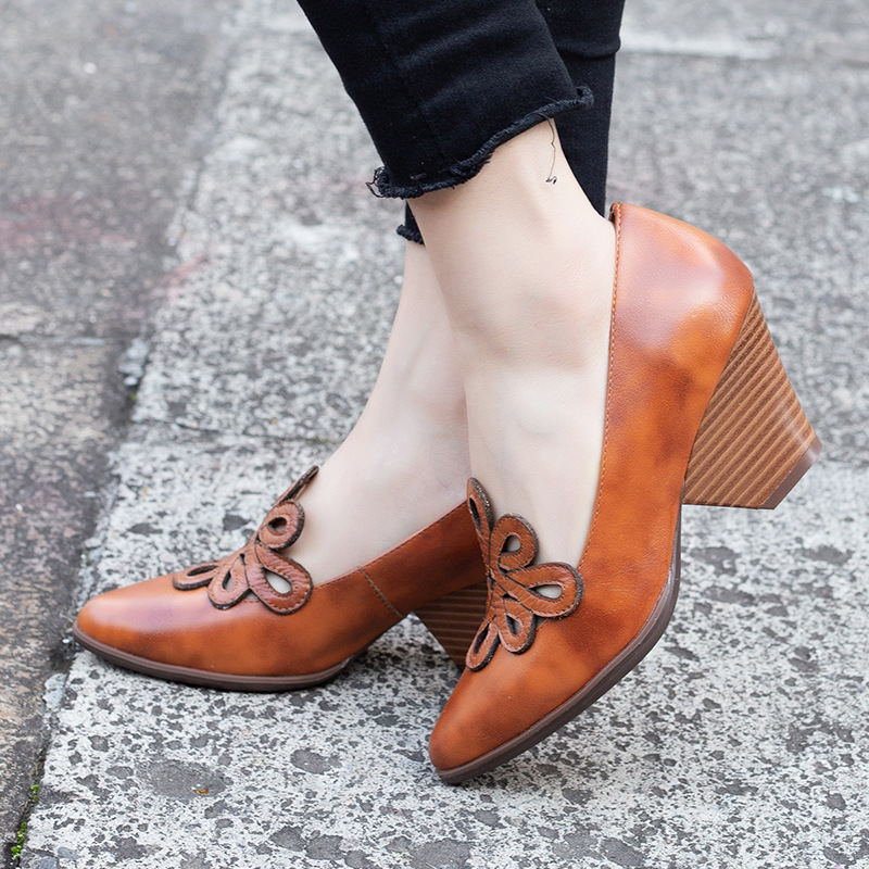 Women Leather Pumps 7 CM High Heels Emboridery Spring Shoes Handmade Genuine Leather Women Pumps Lazy