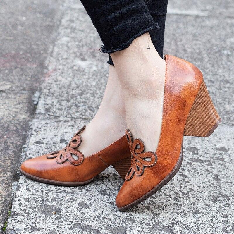 女性の革は 7 センチメートルハイヒール Emboridery 春靴手作り本革の女性は怠惰な靴 2019 ブランド Tyawkiho  グループ上の 靴 からの レディースパンプス の中 1
