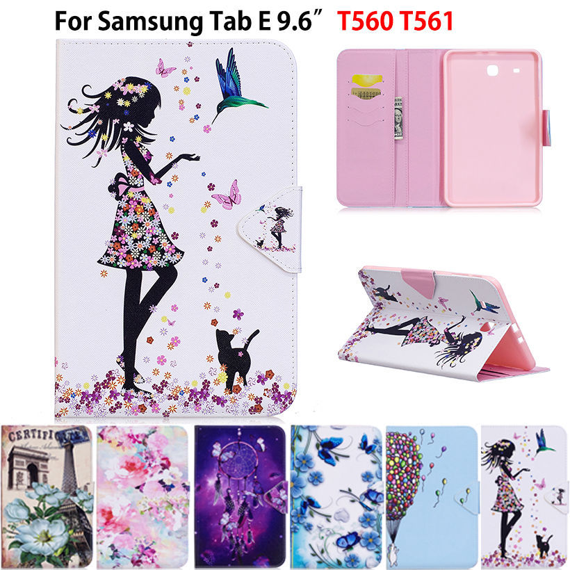 Tablet Case For Samsung Galaxy Tab E T560 SM-T560 T561 9.6 inch Smart Cover Fashion Girl Cat Flip Stand PU Leather Skin Funda luxury flip stand case for samsung galaxy tab 3 10 1 p5200 p5210 p5220 tablet 10 1 inch pu leather protective cover for tab3