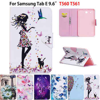 Tablet Case For Samsung Galaxy Tab E T560 SM-T560 T561 9.6 inch Smart Cover Fashion Girl Cat Flip Stand PU Leather Skin Funda - DISCOUNT ITEM  27 OFF Computer & Office