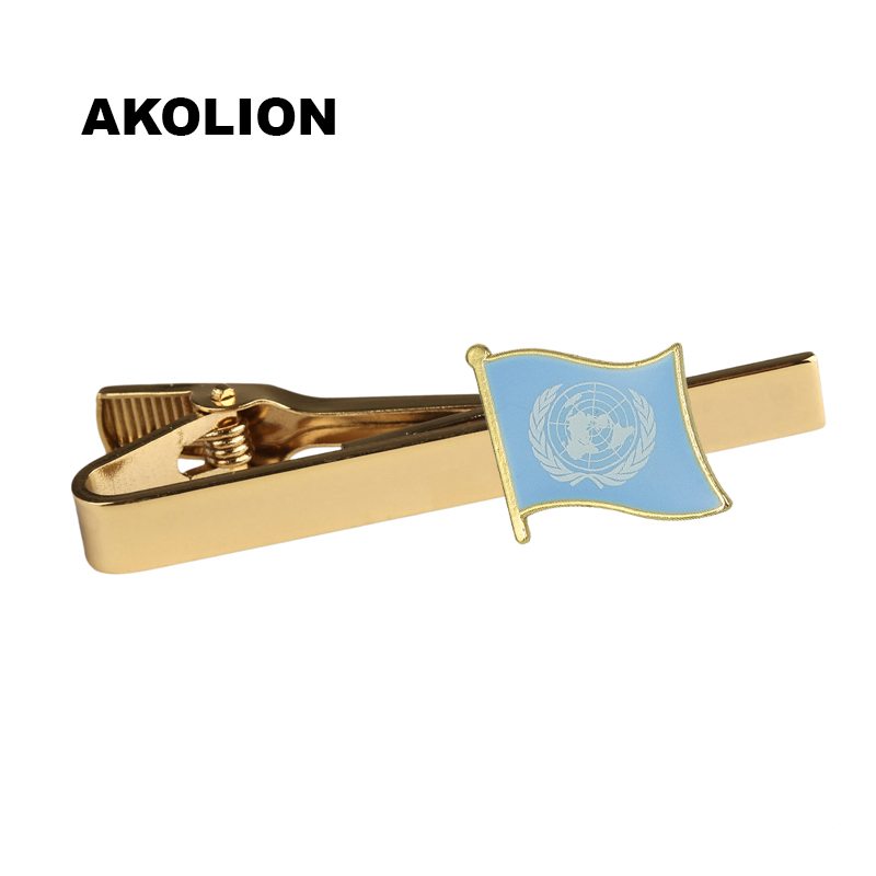 Classic Metal Tie Clip United Nations Flag Tie Bar Gold Tie Pin For Formal Dress Shirt Ceremony Tie Clamp 100pcs        KS-0255