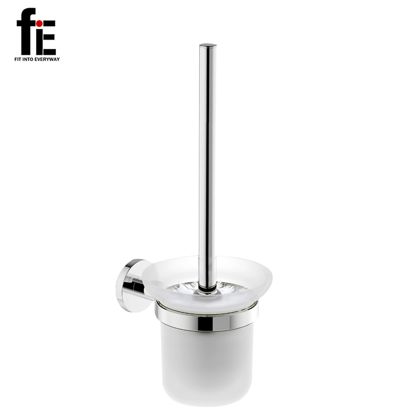 fiE Stainless Steel Wall Mount Mounted Toilet Brush set With Tempered Glass Cup Holder Satin Nickel