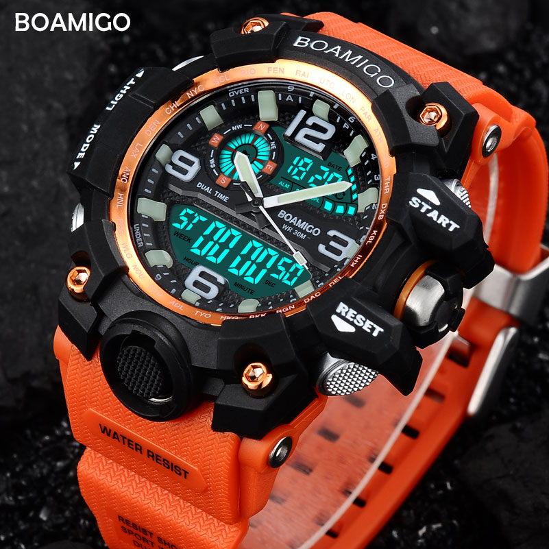 Prix pour Hommes sport montres double affichage numérique LED orange watch quartz montre BOAMIGO marque montre-bracelet en caoutchouc cadeau étanche horloge