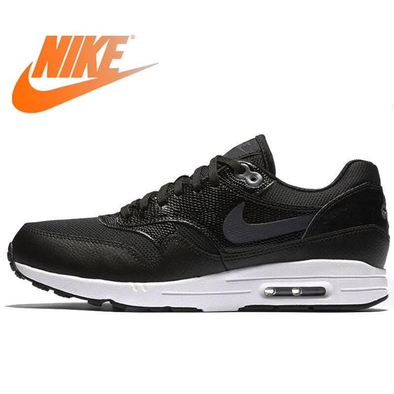 Original authentique NIKE Air Max 1 chaussures de course femme baskets respirantes baskets noir classique Sport plein Air marche Jogging