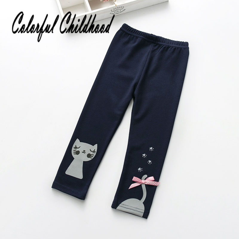 Asymmetry cat embroidery girls pants spring autumn kids leggings cozy cotton children trousers 2-6Yrs spring autumn girls butterfly flower print leggings kids children slim pants
