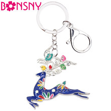 Bonsny Enamel Alloy Running Deer Elk Key Chain Ring Handbag Wallet Car Keychains Animal Jewelry Charms Gift For Girls Lady 2019(China)