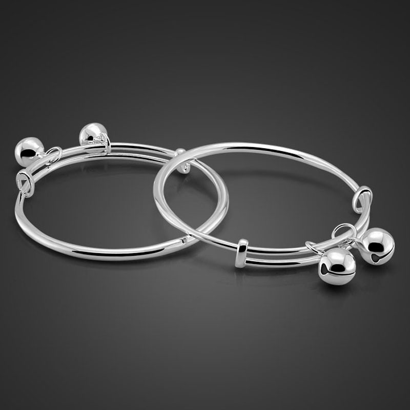 Chinese style sterling silver children jewelry.Solid 925 silver fashion baby bracelet.Lovely bell bracelets. birthday present