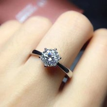 Shiny! Moissanit Diamond Rings s925 sterling silver classic fine Jewelry for women weddings white gemstone
