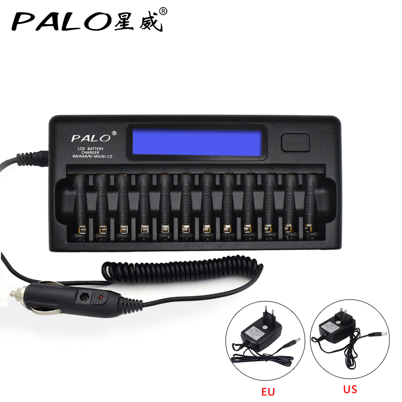 PALO Original 12 Slots Intelligent 2xLCD Display AA/AAA Battery Charger For NI-MH NI-CD Rechargeable Batteries With Car Charger bty c704 a3 battery charger universel 4 slots usb charger with bty aaa 1350series 350mah 1 2v ni mh rechargeable battery