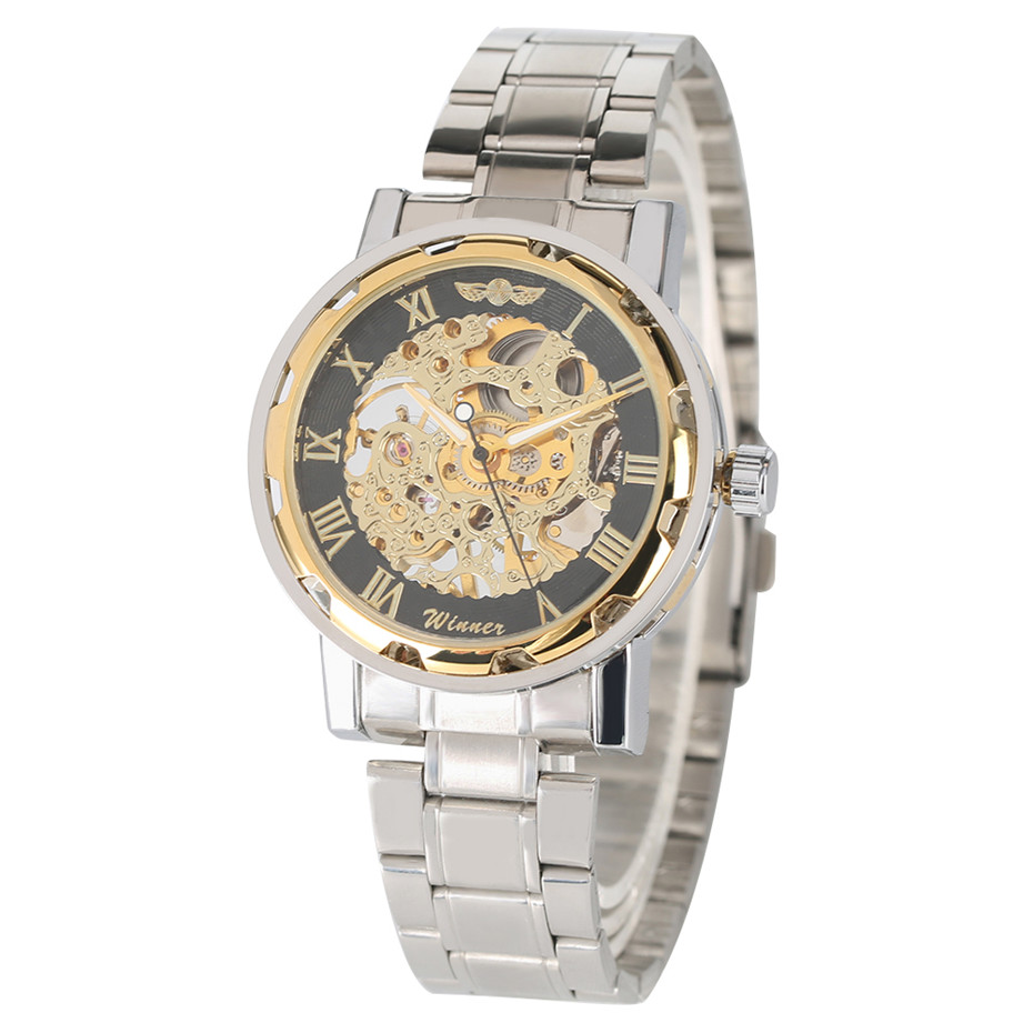 Silver & Gold Hand Winding Mechanical Watch Mens Steel Bangle Wristwatch WINNER Brand Business Male Watches reloj para hombreSilver & Gold Hand Winding Mechanical Watch Mens Steel Bangle Wristwatch WINNER Brand Business Male Watches reloj para hombre