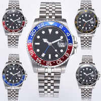 40mm PARNIS Blue/red bezel Mechanical clock deployment clasps Black Dial Sapphire Crystal Date GMT Automatic Mens watch