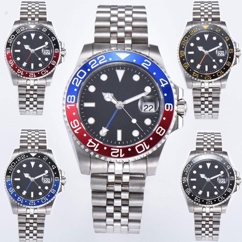 40mm parnis azul/vermelho moldura relógio mecânico implantação fechos mostrador preto safira cristal data gmt relógio automático dos homens